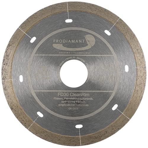 PRODIAMANT Disco de diamante FD30 CleanRim de 115 mm para gres porcelánico fino, gran formato, piedra natural, mármol, pizarra y granito