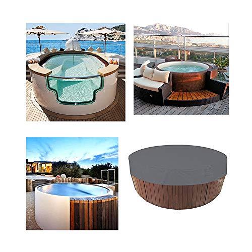 HEWYHAT Runde runde Whirlpoolabdeckung im Freien, wasserdichte, 100% UV-beständige runde Pool-Spa-Abdeckung durch elastischen Sonnenschutz,Grau,215×70cm
