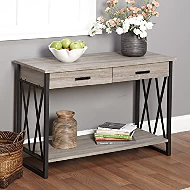 Beautiful Rustic Vintage-Inspired Wood Sofa Table, Black/Grey Reclaimed, Fit Any Room