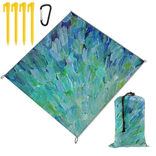 Fantastic Deal! Hucuery Picnic Blanket 59 X 57 in Feathers Mermaid Fins Waves Blue Teal Foldable Wat...