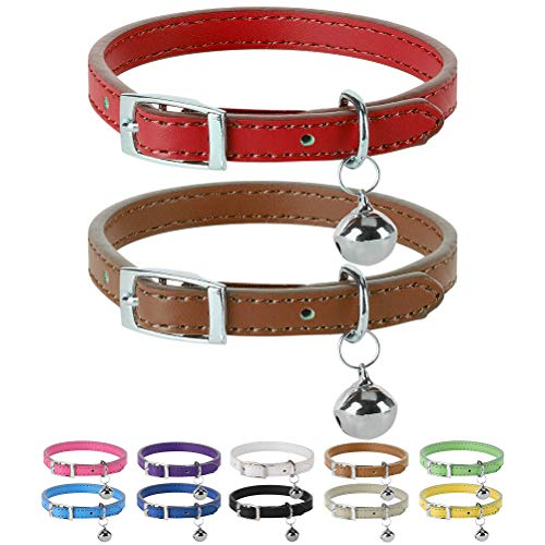 PUPTECK Leather Cat Collars with Bells - 2 Pack Soft Padded Pet Safety Collar for Kitten Puppy Small Dogs Cats