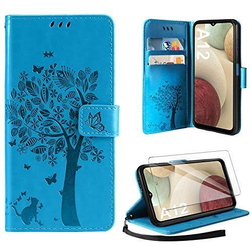 AROYI Funda Compatible con Samsung Galaxy A12 con Protector Pantalla, Relieve Dibujo Carcasa Cuero con Ranuras para Tarjetas Flip Funda Tipo Libro Soporte Plegable Magnético Case Azul