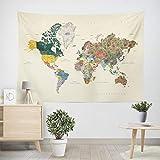 World Map Wall Tapestry Mandala Hanging Map Tapestry Watercolor World Map Tapestry Globe Tapestry for Bedroom Living Dorm Room