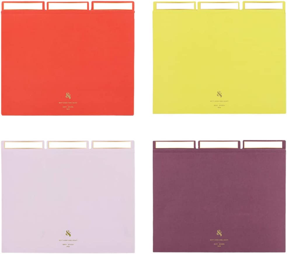 3 of Each Color Yellow Red Wit /& Delight Lavender /& Purple Size 11.75 x 9.75 Get Organized Multicolor File Set 12 File folders