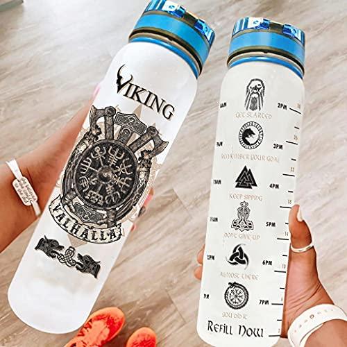 Relaxident Botella deportiva Viking Valhalla Brújula Durable Botella de agua de plástico a prueba de fugas se adapta al aire libre para yoga blanco 1000 ml