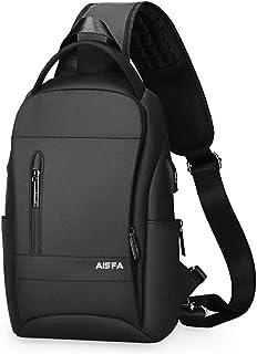AISFA ボディバッグ ショルダーバッグ ワンショルダー 斜めがけバッグ ワンショルダーバッグ ボディーバッグ メンズ iPad収納可 USBポート イヤホン穴付き