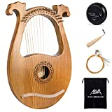 AKLOT Lyre Harp, 16 Metal Strings Mahogany Body Lyra Harp with Maple Saddle Carved Note Tuning Wrench Pickup Strings and Black Gig Bag