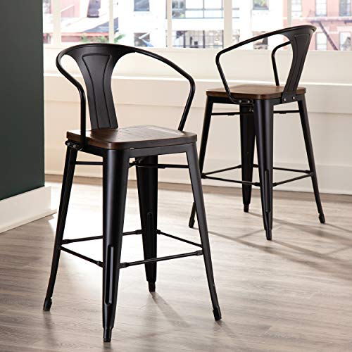OFM 161 Collection Industrial Modern 4 Pack 26' Mid Back Metal Stools with Arms and Solid Ash Wood Seats, Galvanized Steel Bar Stools with Oversized Seats, in Black/Walnut