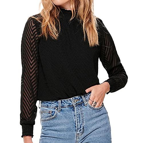 ONLY Damen Onlnew Kayla L/S TOP NOOS WVN Bluse, Schwarz (Black Black), Medium (Herstellergröße: 38)