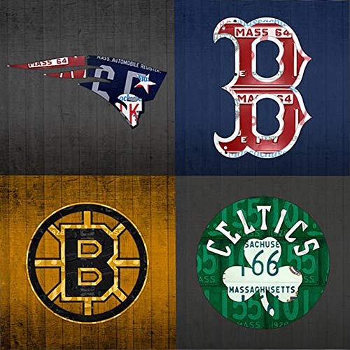 KPSheng Boston Sports Fan Vintage Massachusetts License Plate Art Patriots Red Sox Bruins Celtics Retro Vintage Metal Tin Sign Wall Plaque - for Cafe Beer Club Wall Home Decor 12x12 Inches