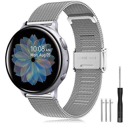 Yaspark Cinturino Huawei Watch GT 2 42mm/Galaxy Watch 3 41mm/Galaxy Watch Active/Active 2 40mm 44mm Acciaio Inossidabile 20mm Braccialetto per Gear Sport/S2 Classic/Vivoactive 3/Forerunner 245/645