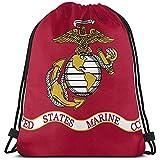 Ngxianbaimingj - Mochila con cordón, diseño de bandera del Cuerpo de Marines de los Estados Unidos