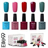 Elite99 Esmalte de Uñas Semipermanente Uñas de Gel UV LED Kit de Manicura 5pcs en Caja Pintauñas Soak off 7.3ml - Kit 003