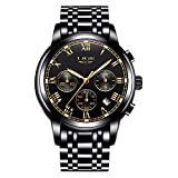 Uhren Herren wasserdichte Edelstahl Chronograph Sport Analog Quarzuhr Männer LIGE Luxusmarke Mode Runde Armbanduhr Mann Gold Schwarz Uhr …