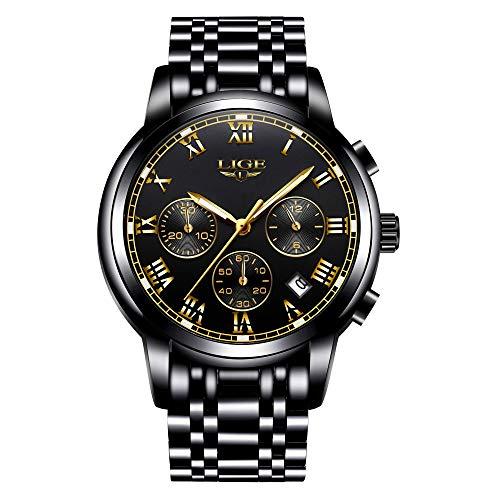 Relojes Hombre Acero Inoxidable Impermeable Deportes analógico de Cuarzo Hombres Reloj LIGE Negocios Cronógrafo Calendario Negro Relojes Hombre