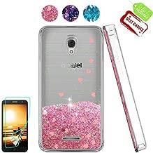 Alcatel Fierce 4/ Allura Case/Pop 4 Plus Case,Shiny Glitter Moving Liquid Clear with TPU Bumper Protective Back Cute Girls Case for Alcatel Fierce 4 / Alcatel POP 4 Plus/Allura / OT5056 Pink
