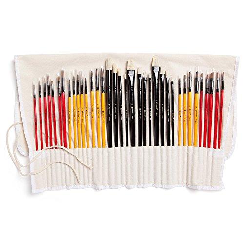Colore Confezione In Nylon Con Pennelli – Confezione Completa Con Set Di 36 Pennelli Professionali - 12 Pennelli Per Pittura Acrilica, 12 Pennelli A Olio E 12 Pennelli Ad Acqua – Leggeri E Duraturi
