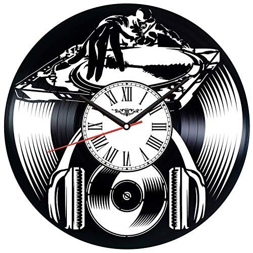 CXM WLONG 'ART Reloj de Pared con Disco de Vinilo para DJ, decoración única para el hogar, Regalo Hecho a Mano para Hombres, Mujeres, Amigos, niños