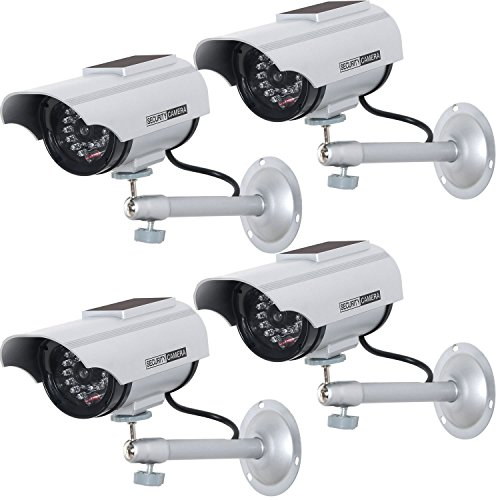 WALI Solar Powered Bullet Dummy Fake Simulated Surveillance Security CCTV Dome Camera Indoor Outdoor with 1 LED Light, Security Alert Sticker Decal (SOLTC-S4), 4 Packs, Silver