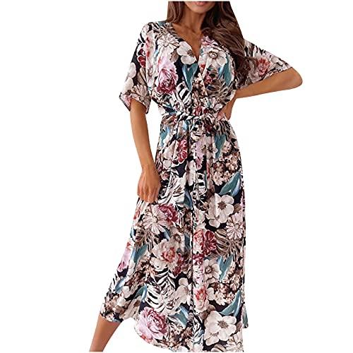 Zzbeans Vestido de verano para mujer, largo, estampado floral, cuello en V, túnica, con cinturón, de manga corta, elegante, bohemio, para mujer, sexy, Mujer, Negro , small