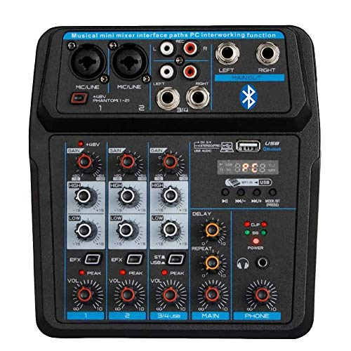 Professional Wireless Audio Mixer Sound Board-4 Channel Digital Bluetooth Computer Compatible Input DJ Controller Sound Mixer 48V Phantom Power Microphone in, Stereo DJ Streaming (M4).