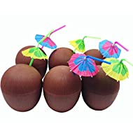 GIFTEXPRESS 12 Pack 16 oz Plastic Coconut Cups with Parasol Umbrella Straws Hawaiian Party Luau Party