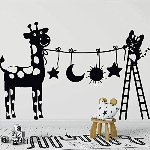Muursticker,Leuke kat en koe muurstickers Vinyl kleuterschool Leuke kat met ladder Kinderkamer Woondecoratie Muurstickers 42x28cm