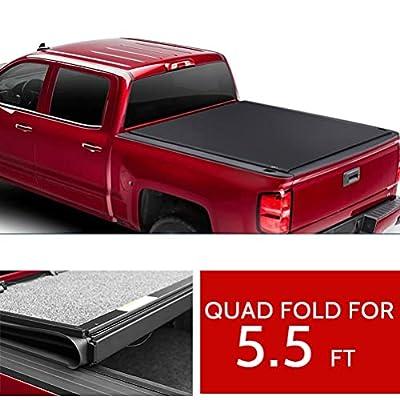 cciyu Tonneau Cover 5.5FT Bed For Ford F-150 2015-2020 Soft Quad Fold Truck Bed Cover Kit Soft Folding Truck Bed Tonneau Cover