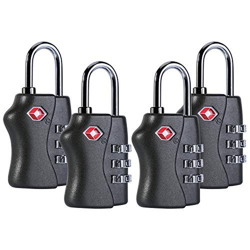 JIETU TSA Approved Luggage Travel Lock,Master Lock,Small Combination Padlock Ideal for Luggage Suitcase Baggage Filing Cabinets,Toolbox,Locker Lock - 4 Pack