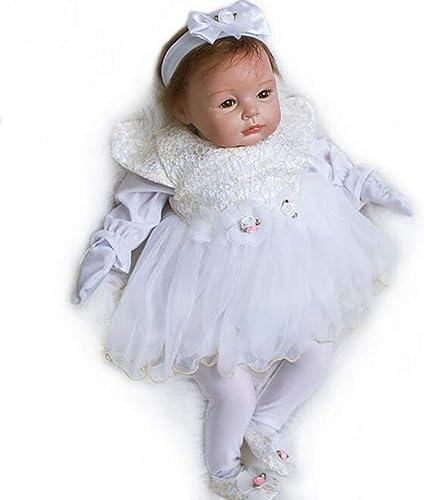 LIDE Toddler Prinzessin offene Augen 22 Zoll 55 cm Reborn Babys Puppe Kinder Spielzeug Geschenk Weißhe Silikon Vinyl Magnetismus Neugeborenes Baby Doll