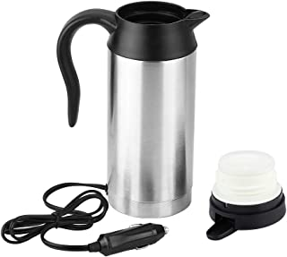 𝐂𝐡𝐫𝐢𝐬𝐭𝐦𝐚𝐬 𝐆𝐢𝐟𝐭 電気ケトル、750ml12V車ステンレス鋼シガレットライター加熱ケトルマグ水茶コーヒー牛乳用電気旅行サーモス