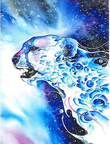 Kit de pintura de diamante 5D por número DIY, traje de diamante redondo para adultos, decoración artística, regalo para niños, leopardo de agua