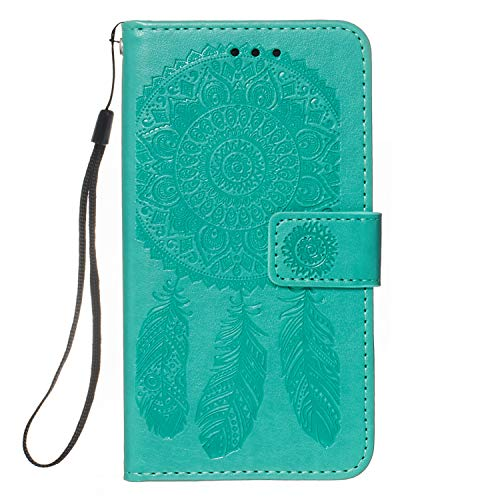 Samsung Galaxy A01 Case 3D Dream Catcher Shockproof PU Leather Flip Wallet Phone Cases Folio Magnetic Protective Cover TPU Bumper with Stand Card Slots for Samsung Galaxy A01 Green