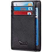 BSWolf RFID Blocking Minimalist Credit Card Holder Slim Front Pocket Genuine Leather Wallets for Men & Women (CH Black)