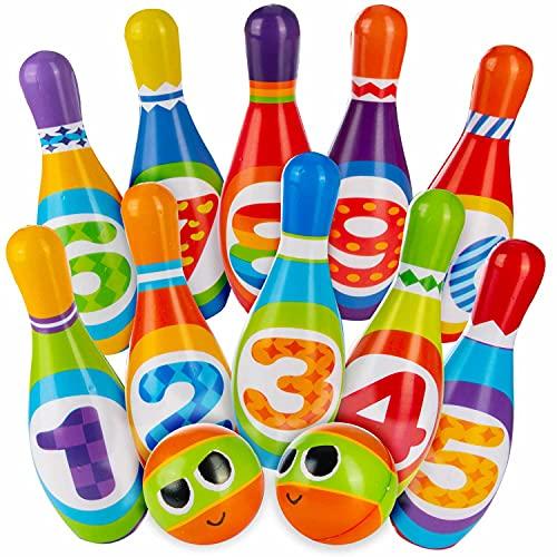all Kids United® Kegelspiel für Kinder Bowling-Set XXL mit 10 weichen PU Kegeln und 2 Bällen; Pädagogisches Lern-Spielzeug für Drinnen & Draußen aus Schaumstoff (10er Set)