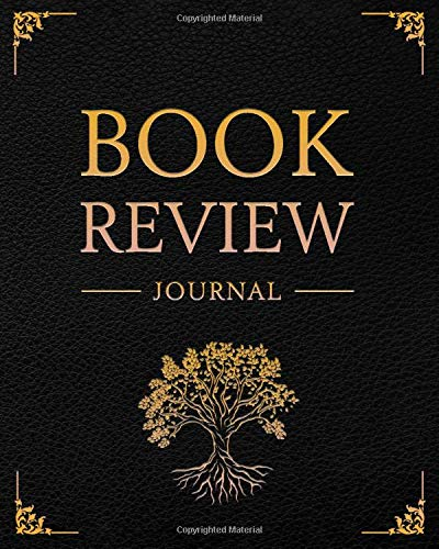 Book Review Journal: 100 Record Pages For Book Lovers | The Tree of Life; Black Leather Design (Books Review Notebooks)