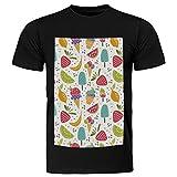 LoRVIES - Postres azucarados con crema de azúcar con frutas, unisex, de manga corta de algodón, para hombres y mujeres multicolor 3XL