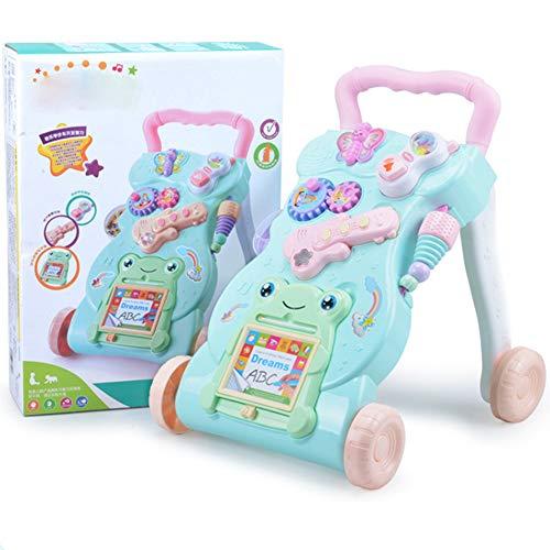 LGLE Baby Music Gioco da Tavolo Multifunzione 2 In1 Prima Infanzia Pieghevole Neonato Primi Camminatori con Ruote Giocattolo Regalo 0-1 Anni Girello per Bambini,Green-Pink
