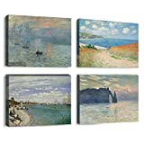 4 Pcs Abstract Wall Art by Monet Waterproof Canvas Prints for Livingroom Bathroom Gallery Wrap Inner Frame with Accessories for Hanging (B, 12X16InchX4Pcs)