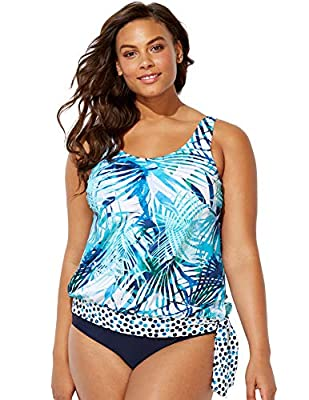 Swimsuits for All Women's Plus Size Floral Blouson Tankini Top 16 Blue from swimsuitsforall