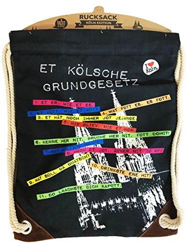 I LOVE KÖLN Turnbeutel Kölner Grundgesetz, Rucksack aus Baumwolle mit Kölner Dom, Beutel schwarz Köln mit Kordelzug