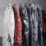 使い捨ての透明ダストカバー プラスチック製のハンギングバッグ服ガーメントバッグ 衣類スーツジャケットプロテクター厚0.06 mm AC027 130x60cm 3pcs
