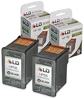 LD Remanufactured Ink Cartridge Replacement for HP 56 C6656AN (Black, 2-Pack)