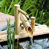 YSYW Bamboo Accents Water Fountai Bambusbrunnen Für Den Garten Bambus Wasserspiel Auslauf Mit Pumpe Gartendekoration Skulptur Deko Statuen Für Wasserfall Outdoor,40cm