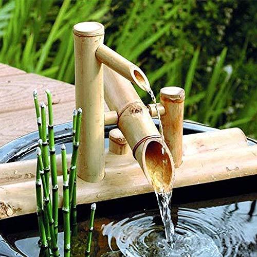QXTT Bambusbrunnen Für Den Garten Bambus Wasserspiel Auslauf Mit Pumpe Gartendekoration Skulptur Deko Statuen Für Wasserfall Outdoor Japanisches Garten Feature,50cm