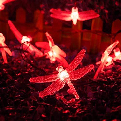 Luces solares de la secuencia de la libélula del jardín, 7m 50LED Luces de cadena solares impermeables al aire libre con 8 modos a prueba de agua para la fiesta (rojo)