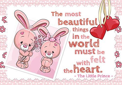 Forwall Fototapete Vlies Tapete Prinzessin Kinderzimmer - Mädchen Junge Teddybär Kaninchen Moderne Wanddeko Wandtapete für Kinder 12540VEXXXL 416cm x 254cm