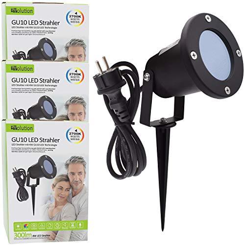 3x Evolution LED Gartenstrahler mit Erdspieß inkl. 4W GU10 2700K IP65, Gartenbeleuchtung, Wegbeleuchtung, Außenleuchte, Gartenlampe, Gartenleuchte, warmweiß, Spritzwasser geschützt, mit Anschlußkabel