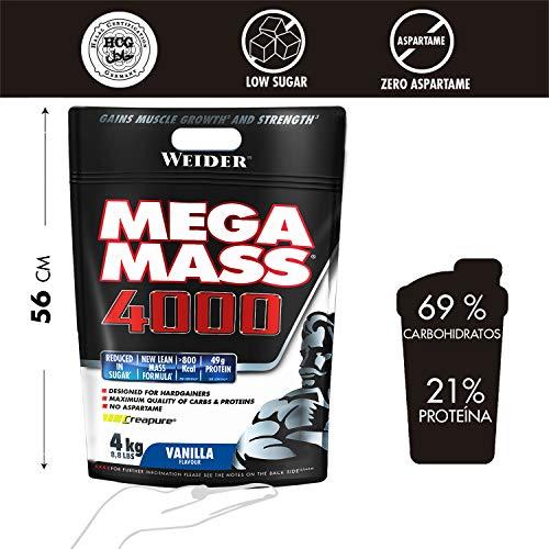 Weider Mega Mass-4000 Protein Supplement, Vanilla, 4 kg