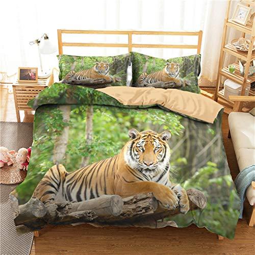 HNHDDZ Junge Teen Bettbezug und Kissenbezug 3D Tier Tiger Dinosaurier Zebra Leopard Löwe Bettwäsche Drucken Mit Reißverschluss (Stil 4,Bettbezug 135x200 cm + 1 Kissenbezug 80x80 cm)
